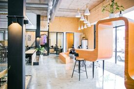 Cafes and shops nearby  Creative co-working hub  Buzzy workspace